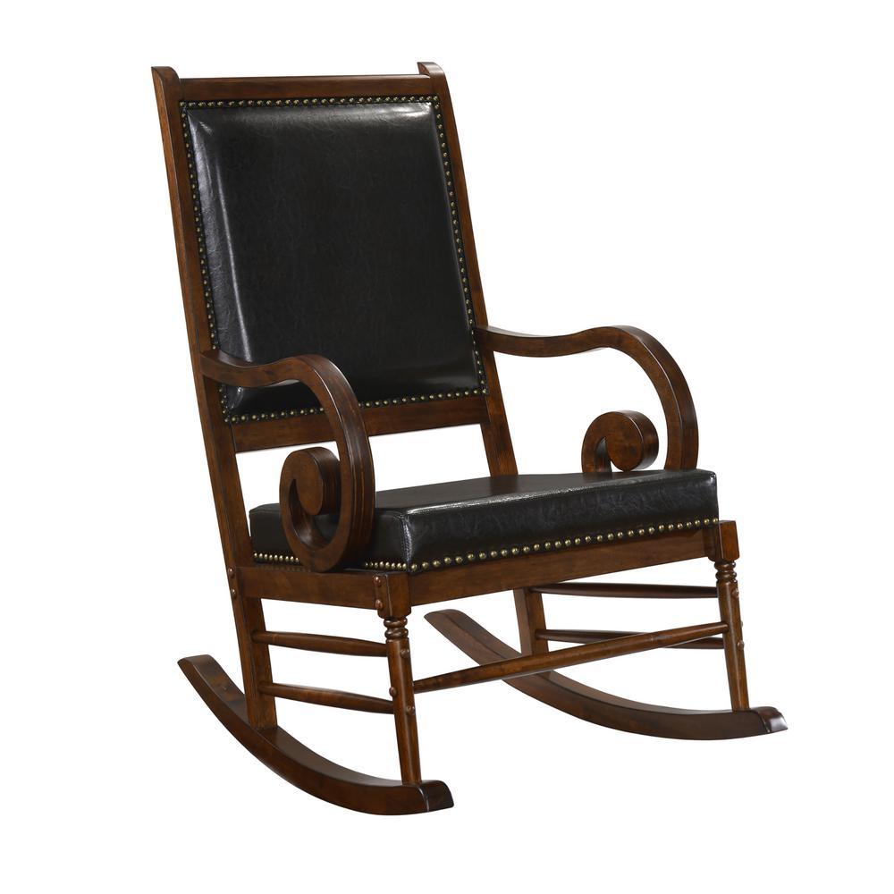 Cambridge Chestnut Leatherette Nail Head Trim Rocking Chair