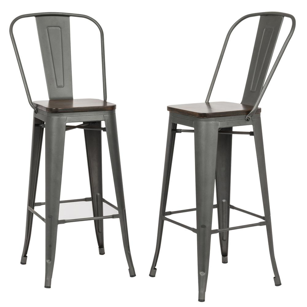Ash 30 in. Rustic Pewter Wood Seat Bar Stool (Set of