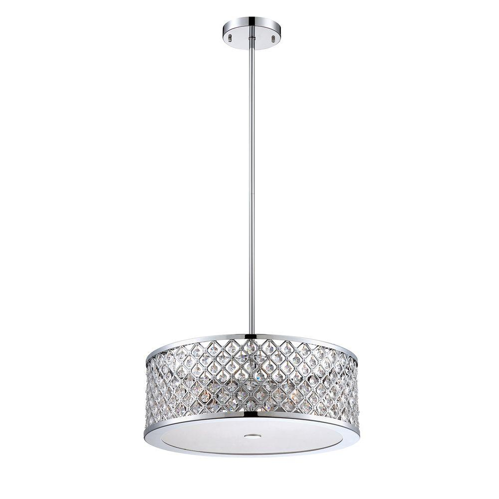 Home Decorators Collection 3-Light Chrome Convertible Semi-Flushmount/Pendant with Frosted Crystal Shade