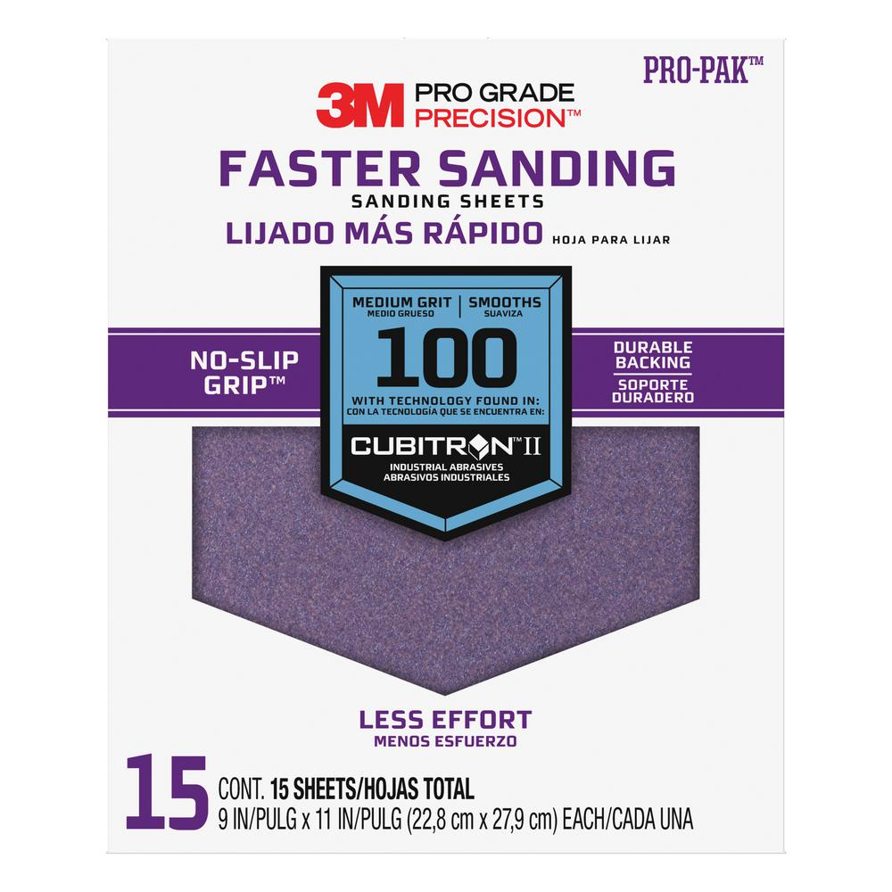 3M Pro Grade Precision 9 in. x 11 in. 100 Grit Advanced Sanding Sheets (15-Pack)