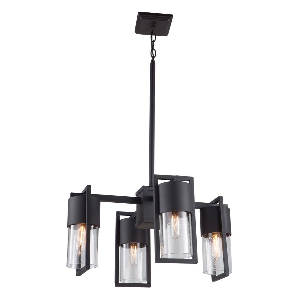 Bond 4-Light Matte Black Outdoor Chandelier