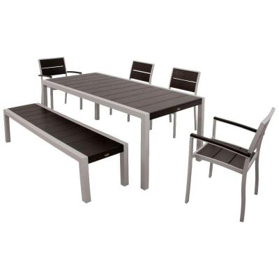 Surf City Textured Silver 6-Piece Plastic Outdoor Patio Dining Set with Charcoal Black Slats