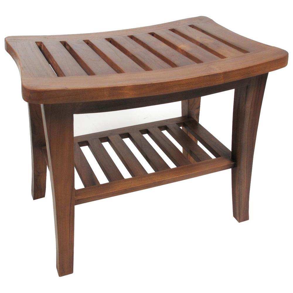 Details About Teak Shower Bench Shelf Bathroom Seat Chair Wood Spa Indoor Outdoor Freestanding