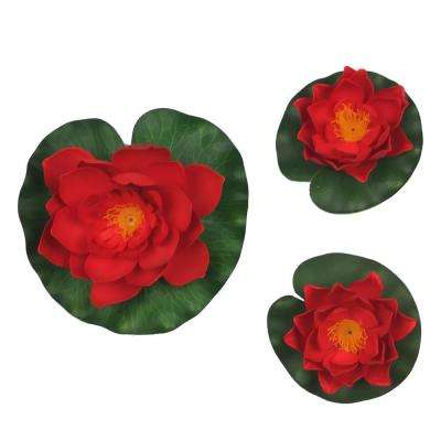 3-Piece Decorative Floating Artificial Red Lotus Water Lilies