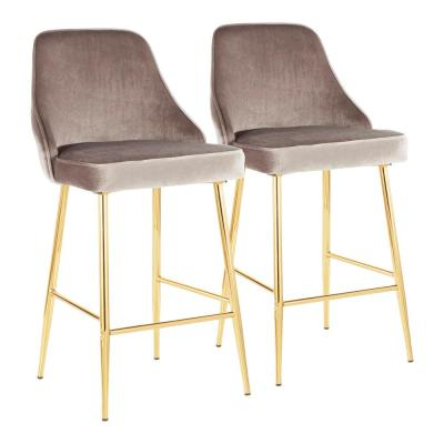 Marcel 25 in. Gold Metal Counter Stool with Silver Velvet Upholstery (Set of 2)