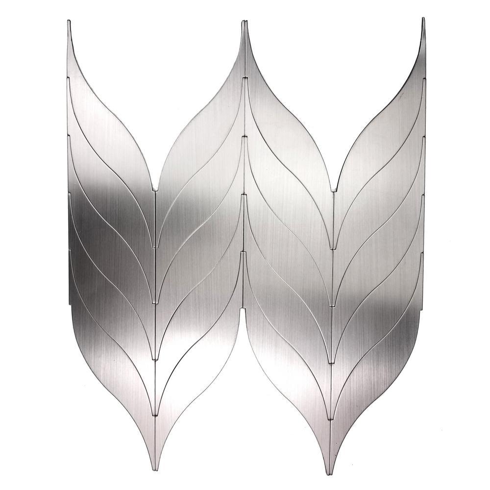Mosaic 1 in. x 8 in. Leaf Silver Gray Brushed Aluminum Peel and Stick Decorative Bathroom Wall Tile Backsplash (1 Sheet)