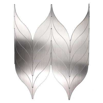 Enchanted Metals 14 in. x 10.75 in. Silver Aluminum Leaf Shaped Peel and Stick Decorative Wall Tile