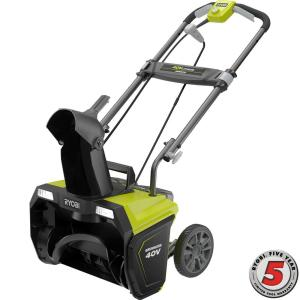 Ryobi 20 inch 40-Volt Brushless Cordless Electric Snow Blower - 5.0 Ah Battery and Charger Included by Ryobi
