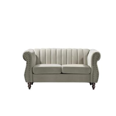 Louis 59.1 in. Cream Channel Tufted Velvet 2-Seater Loveseat with Nailheads