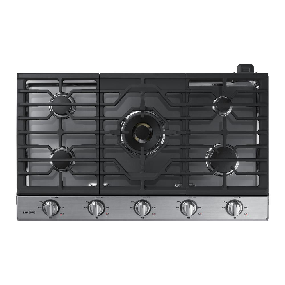 Samsung 36 in. Gas Cooktop in Stainless with 5 Burners including Dual Brass Power Burner with Wi-Fi