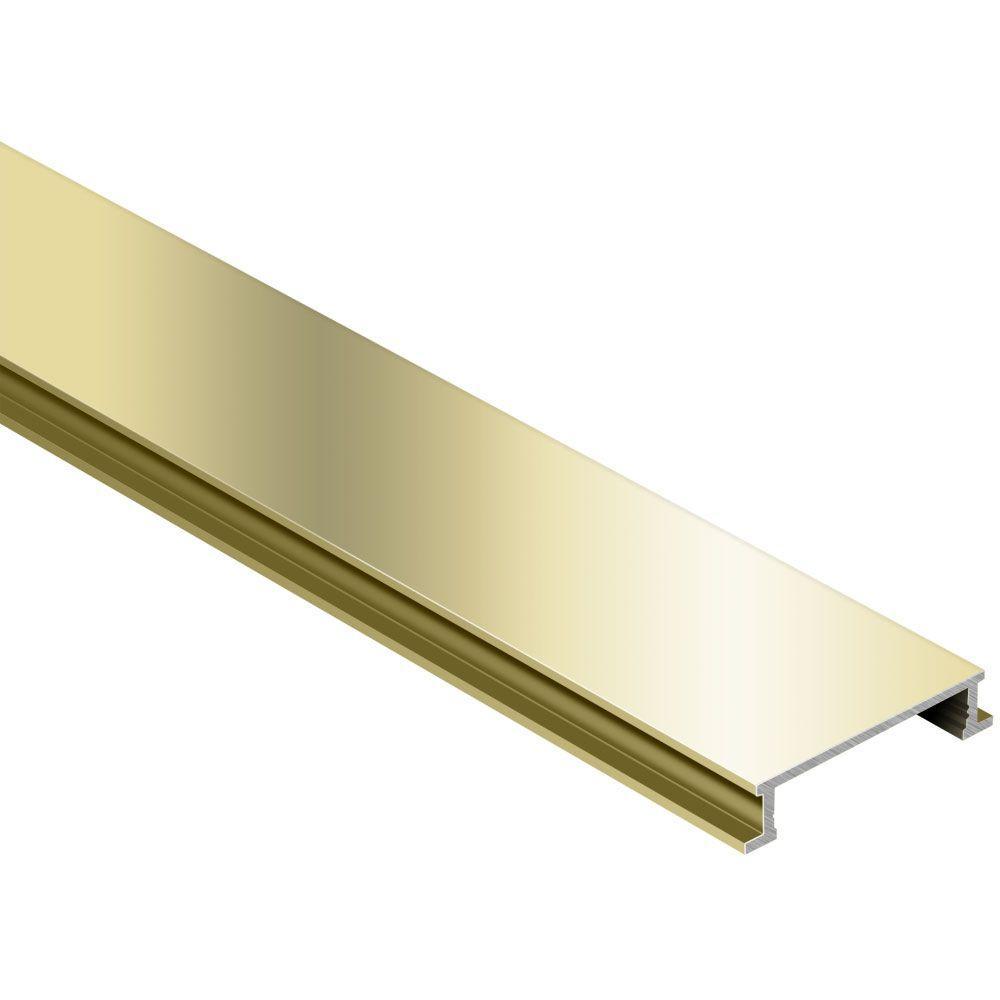 Designline Polished Brass Anodized Aluminum 1/4 in. x 8 ft. 2-1/2 in. Metal Border Tile Edging Trim