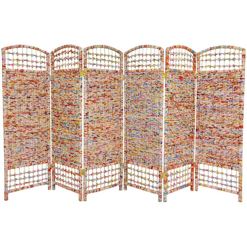 4 ft. Multi Color 6-Panel Recycled Magazine Room Divider