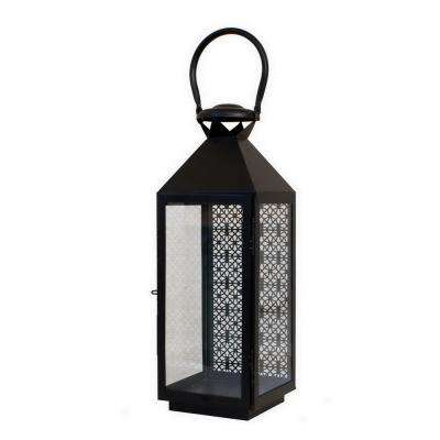 21 in. Black Metal Pierced Lantern