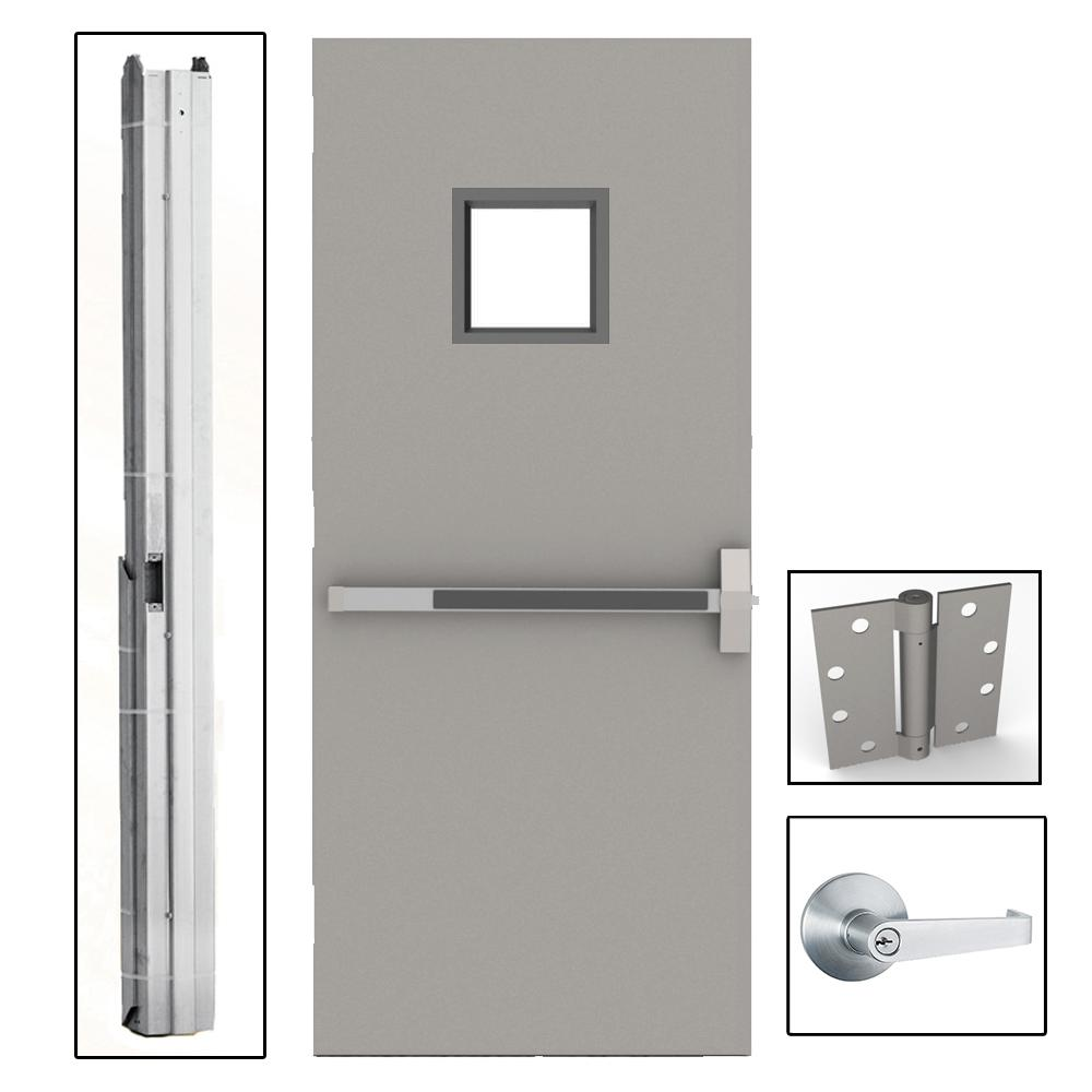 36 in. x 80 in. Gray Flush Exit with 10x10 VL
