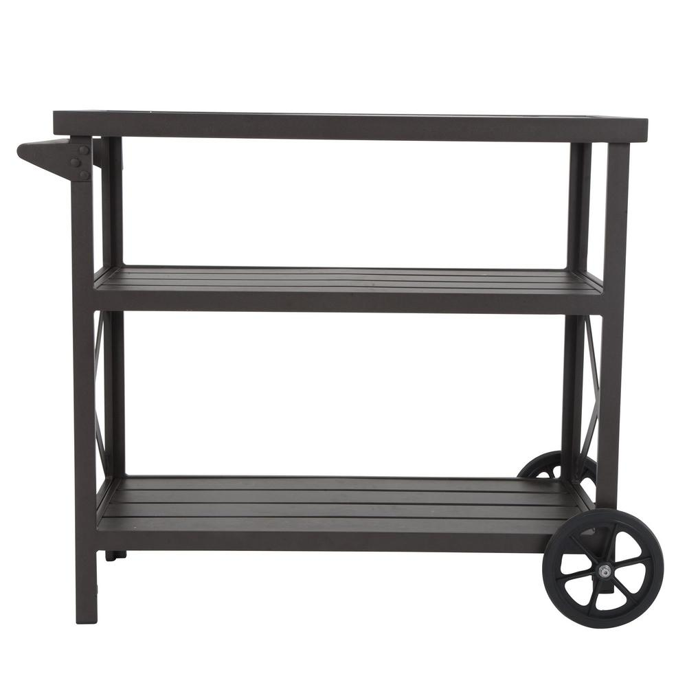 Cosco Farmstead Metal Patio Serving Cart with 2-Over-Sized Wheels