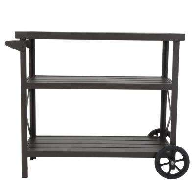 Farmstead Metal Patio Serving Cart with 2-Over-Sized Wheels