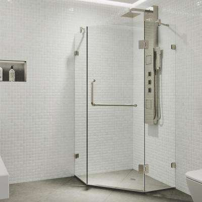 Piedmont 34.125 in. x 73.375 in. Frameless Neo-Angle Hinged Corner Shower Enclosure in Brushed Nickel with Clear Glass