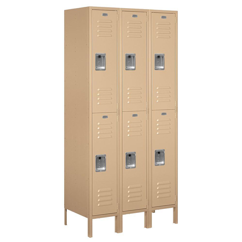 62000 Series 36 in. W x 78 in. H x 18 in. D 2-Tier Metal Locker Assembled in Tan