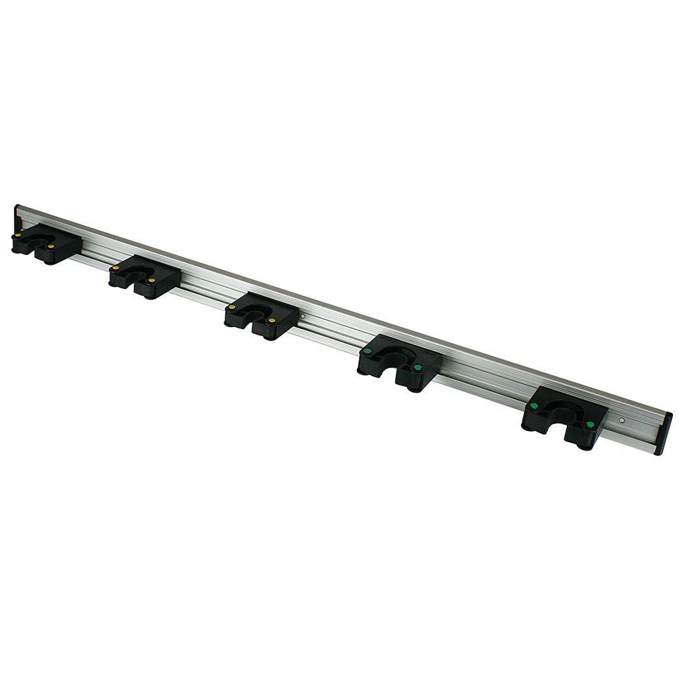 Everbilt 36 in. Adjustable Storage Wall Mount Tool Bar with 5 Rubber Grips in Black