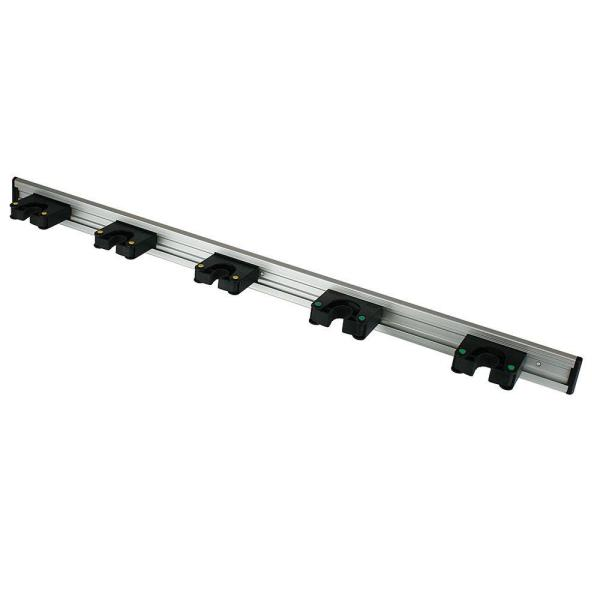 36 in. Adjustable Storage Wall Mount Tool Bar with 5 Rubber Grips in Black