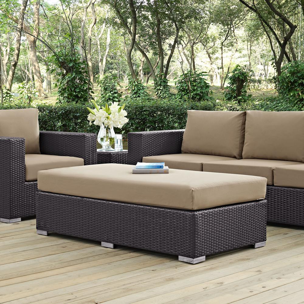 Convene Wicker Outdoor Patio Fabric Rectangle Ottoman in Espresso with Mocha