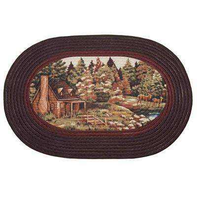 Woodlands Brown 2 ft. x 2 ft. Braided Area Rug
