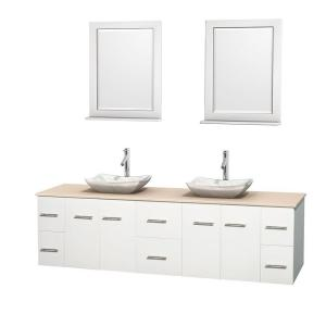 Wyndham Collection Centra 80 inch Double Vanity in White with Marble Vanity Top in Ivory, Carrera Marble Sinks and 24... by Wyndham Collection