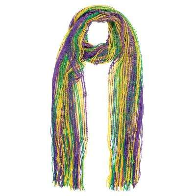 Green, Purple and Gold Glitter Mardi Gras Striped Scarf (2-Pack)