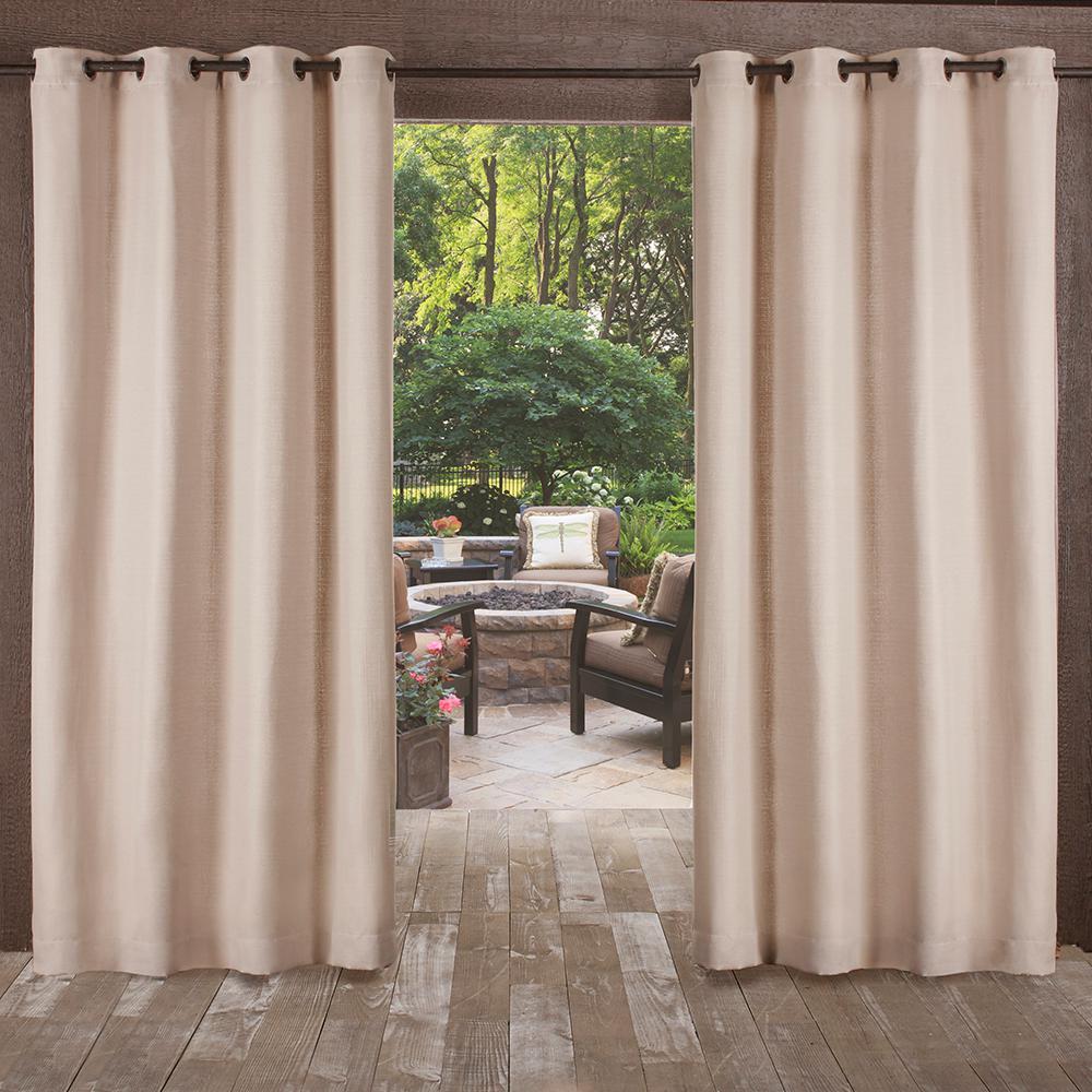 Delano 54 in. W x 108 in. L Indoor Outdoor Grommet Top Curtain Panel in Taupe (2 Panels)
