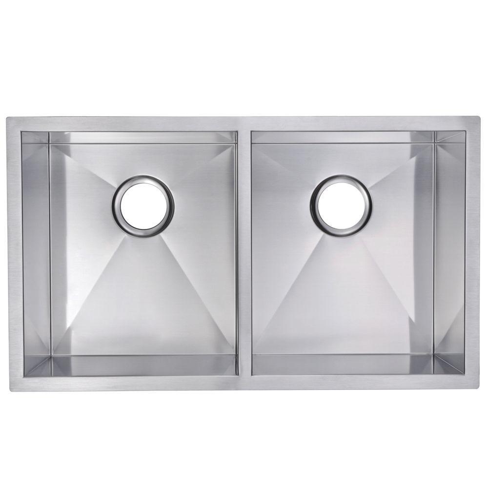 Undermount Zero Radius Stainless Steel 31.in 0-Hole Double Bowl Kitchen Sink in Satin Finish