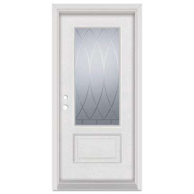 33.375 in. x 83 in. V-Groove Right-Hand 3/4 Lite Finished Fiberglass Mahogany Woodgrain Prehung Front Door Brickmould