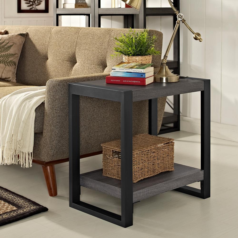 Walker Edison Furniture Company Charcoal Storage Side Table
