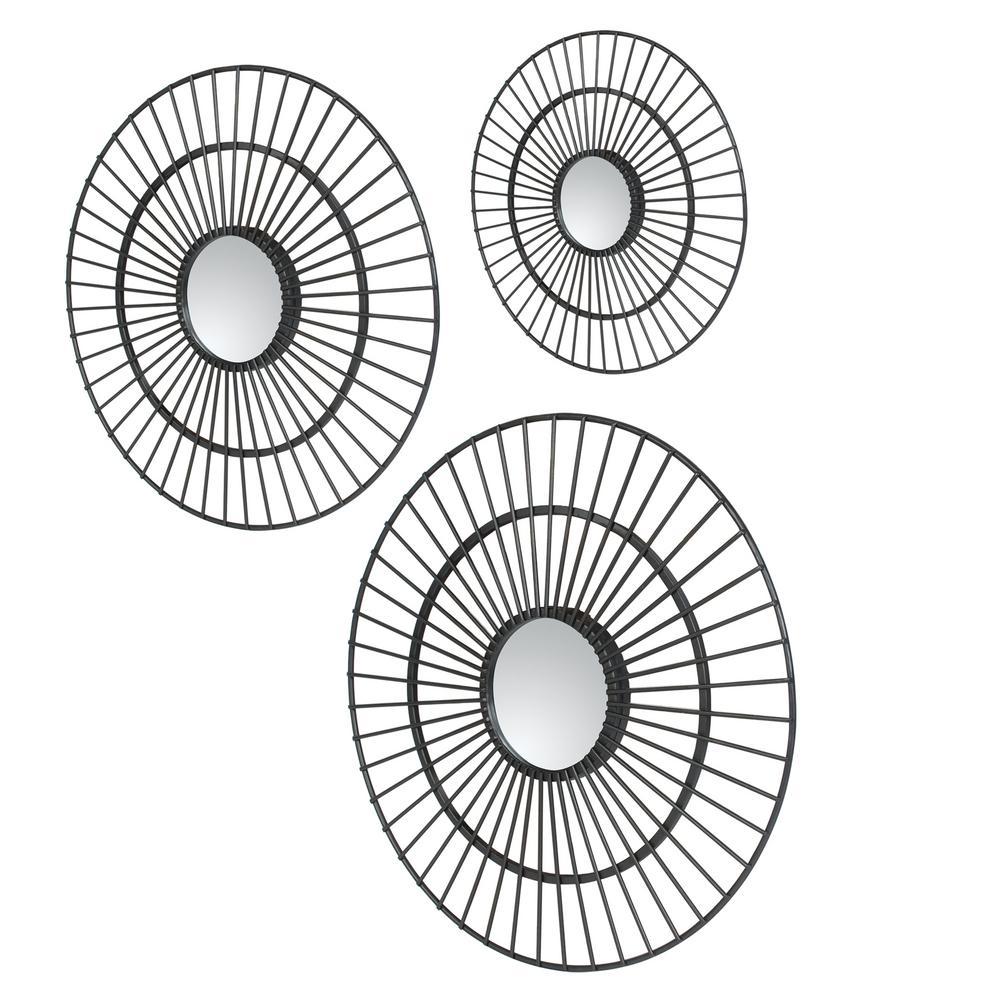 Delgado Sunburst Gunmetal Gray Decorative Mirror (Set of 3)