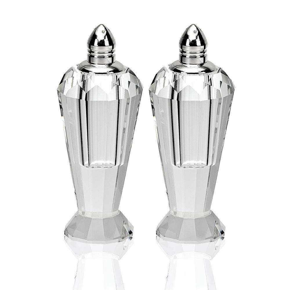 Handmade Lead Free Crystal Pair Salt and Pepper Clear Preston Platinum Tops