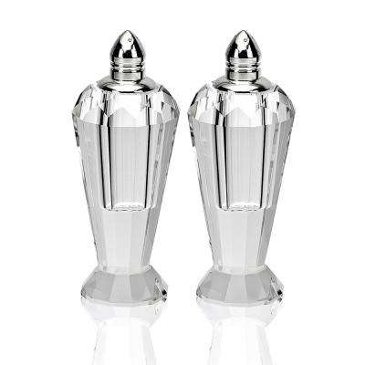 Handmade Lead Free Crystal Pair Salt and Pepper Clear Preston Platinum Tops