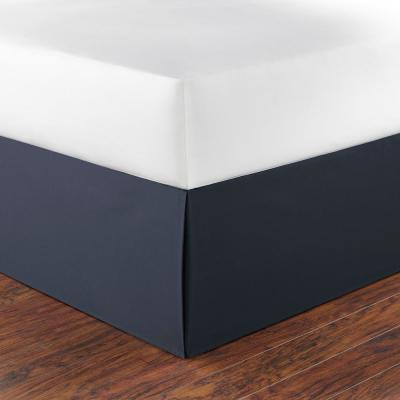 15 in. Solid Cotton Navy King Drop Bedskirt