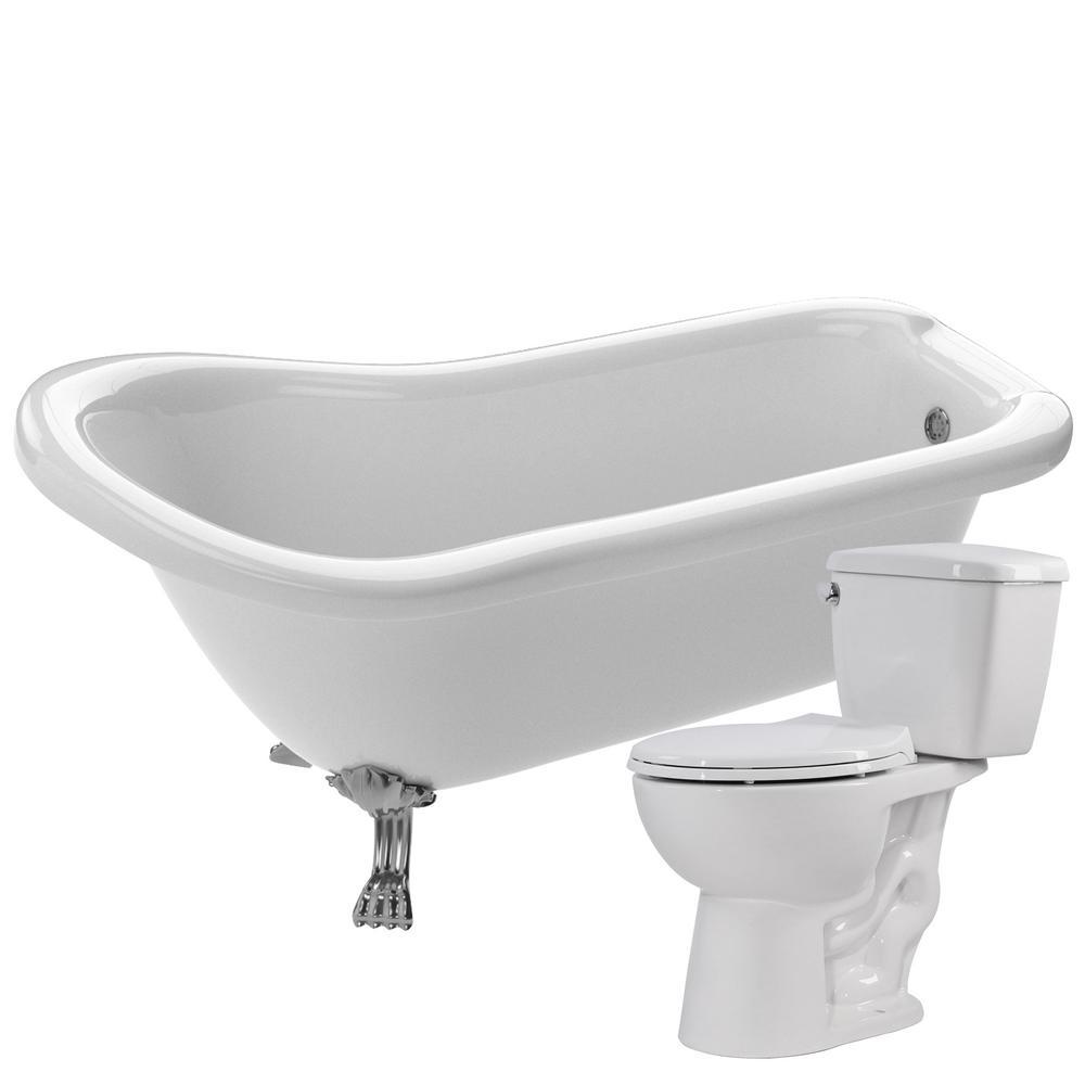 ANZZI Pegasus 61 in. Acrylic Clawfoot Non-Whirlpool Bathtub with ...