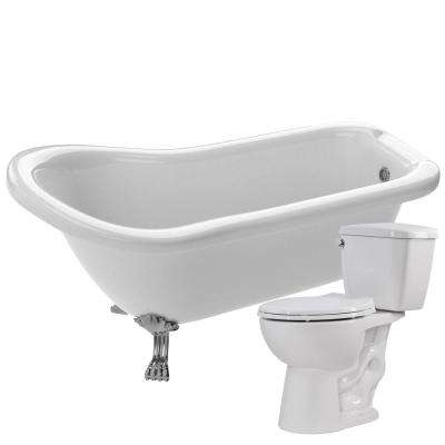 Pegasus 61 in. Acrylic Clawfoot Non-Whirlpool Bathtub in White with Cavalier 2-Piece 1.28 GPF Single Flush Toilet