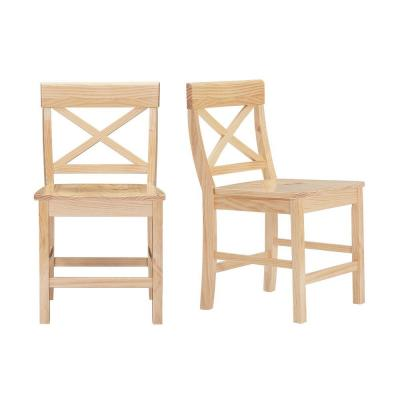 Cedarville Unfinished Wood Chair with Cross Back (Set of 2) (19.42 in. W x 31.98 in. H)
