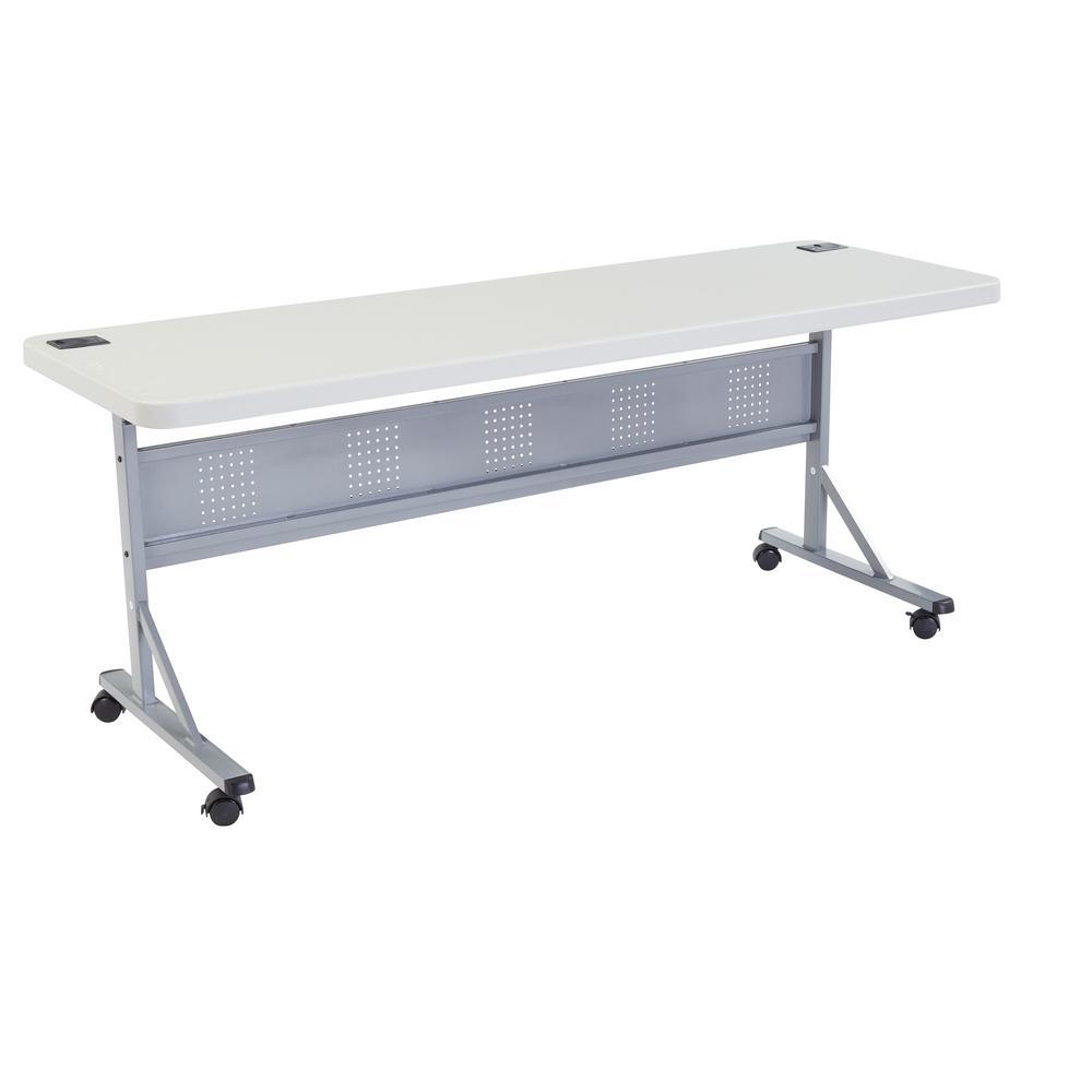 24 in. x 72 in. Grey Flip-N-Store Training Table