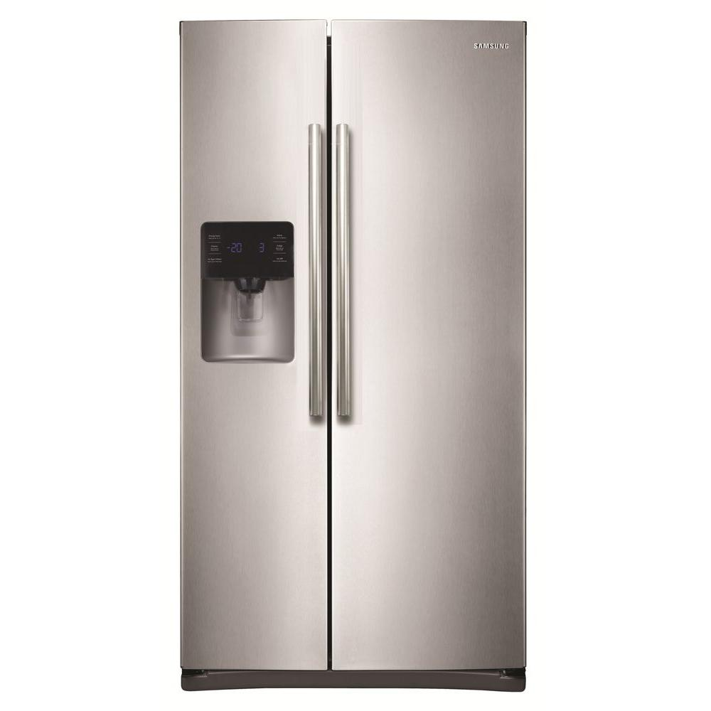 samsung 24 5 cu ft side by side refrigerator in stainless steel rs25h5111sr the home depot. Black Bedroom Furniture Sets. Home Design Ideas