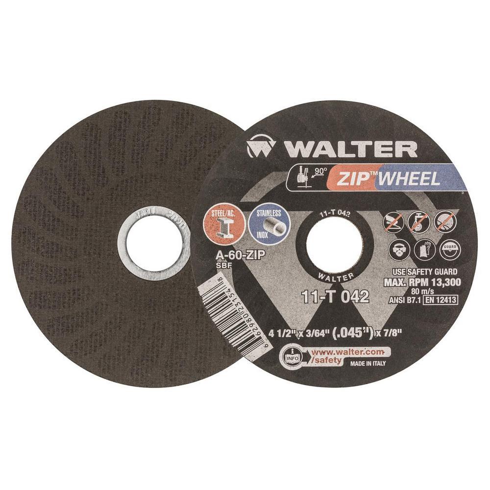 Zip Wheel 4.5 in. x 7/8 in. Arbor x 3/64 in. GR 36/60, Highest Performing Cut-Off Wheel (25-Pack)