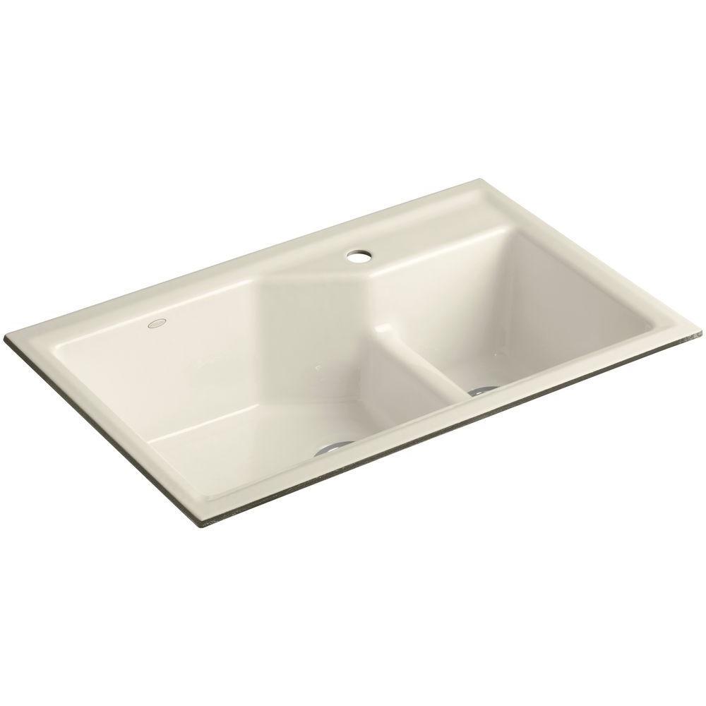 KOHLER Indio Smart Divide Undermount Cast Iron 33 in. 1-Hole Double Bowl Kitchen Sink Kit in Almond