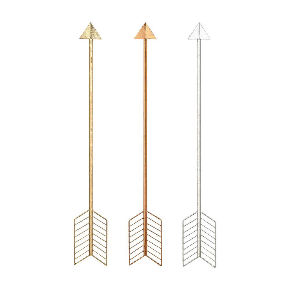 30 in. x 4 in. Metallic Arrows Wall Hangings (3-Piece)