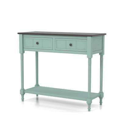 Skanto Antique Blue and Dark Walnut 2-Drawer Entry Console Table