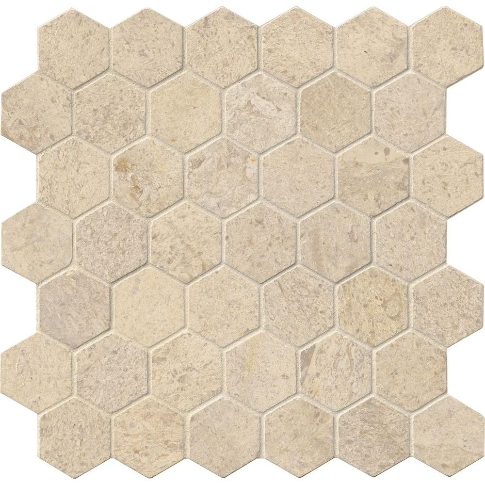 Msi coastal sand hexagon 12 in x 12 in x 10 mm honed for 10 x 10 sq ft