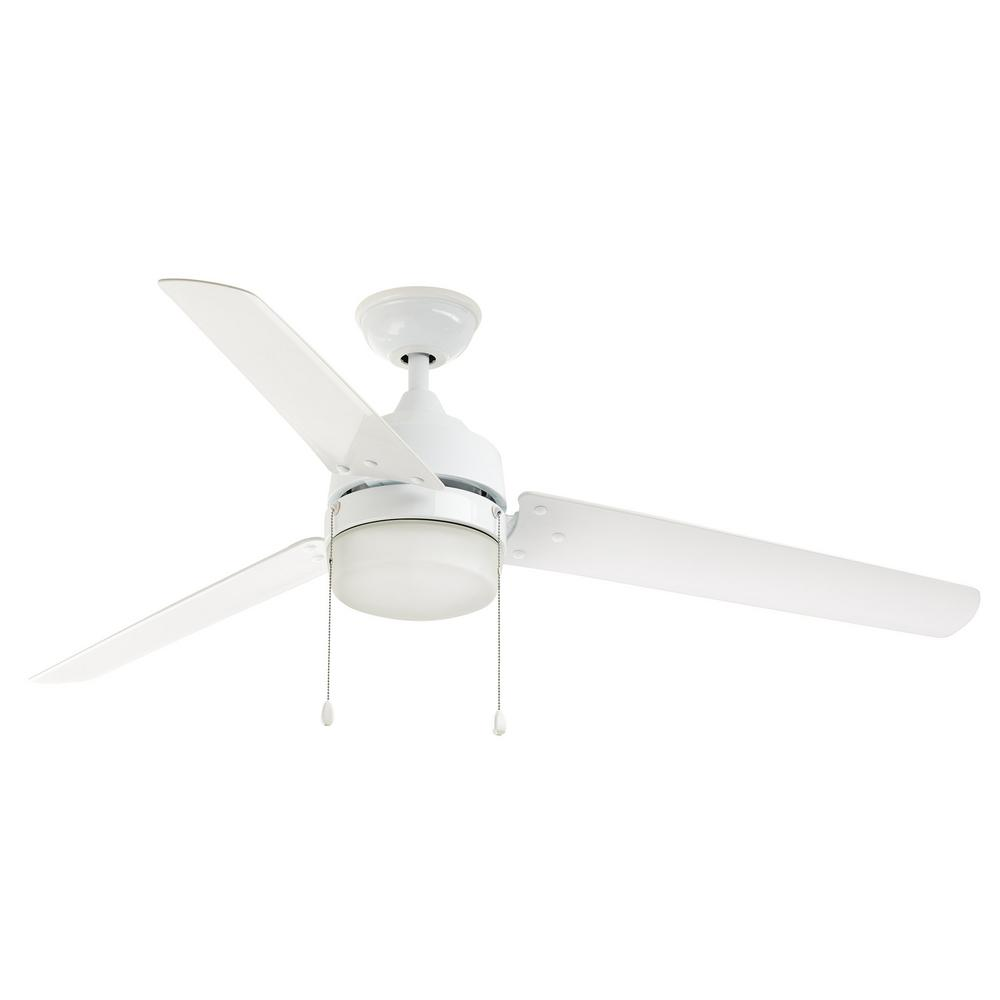 White Outdoor Ceiling Fan With Light: Home Decorators Collection Carrington 60 In. Integrated