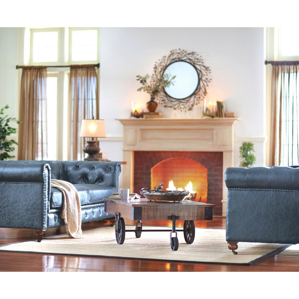 Home Decorators Collection Gordon Blue Leather Sofa 0849400310 The