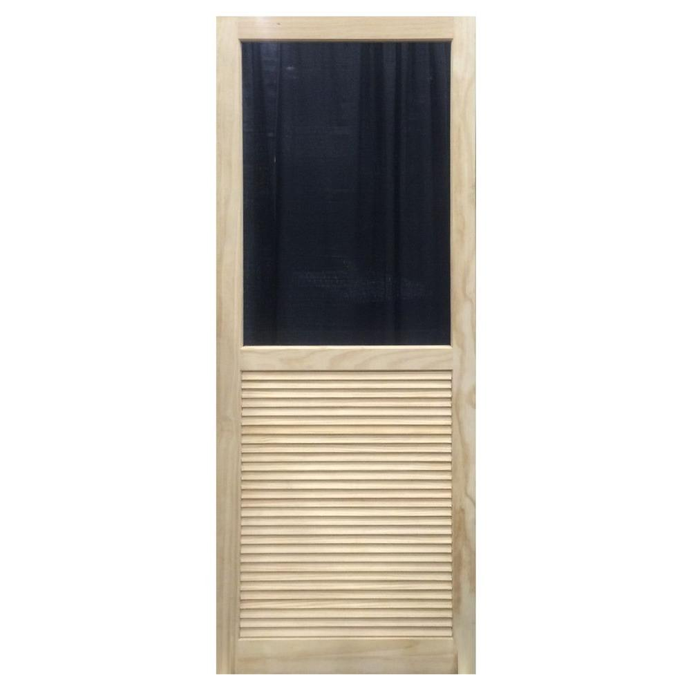 31.75 in. x 79.75 in. Louvered Stainable Screen Door