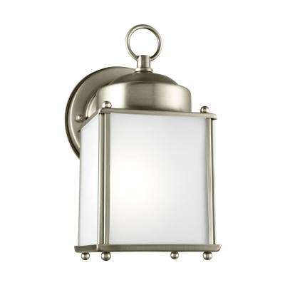 New Castle 1-Light Antique Brushed Nickel Outdoor 8.25 in. Wall Lantern Sconce